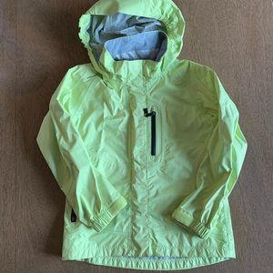 REI Bright Neon Yellow Rain Jacket w Hood size XXS
